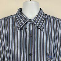 Faconnable Dark Blue Striped Mens Dress Button Shirt Size XL