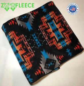 "ZooFleece Black Southwestern Aztec Native American Throw Bedding Blanket 50X60"""