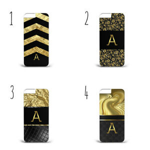 Personalised Name Initials Luxury Black Gold b77 phone case cover iPhone Samsung