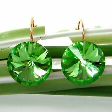 Navachi Light Green 18K GP Crystal Zircon Leverback Earrings BH2847