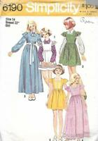 Simplicity 6190 Girls Dress or Jumper in Two Lengths & Blouse Size 14 Vtg 1973