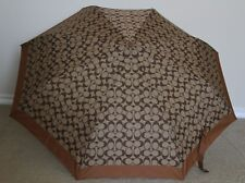 COACH Signature Retractable Umbrella F63364, SV/Khaki/Saddle
