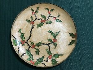 """Vintage Cloisonne Holly Berry Brass 7.5"""" Plate India"""