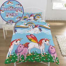 Rainbow Licornes Set Housse de Couette Simple Réversible Enfants Filles Literie