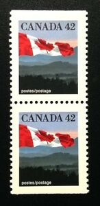 Canada #1356as CP, MNH, Flag over Hills Booklet Pair of Stamps 1991