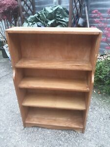 Vintage Old Wooden Bookcase Storage Shelves