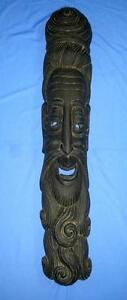 Antique Old Collectible Decorative Hand Carved Wood Saint Face Mask Wall Hanging