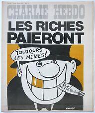 CHARLIE HEBDO Collector N° 186 1974 CABU WOLINSKI  LES RICHES PAIERONT