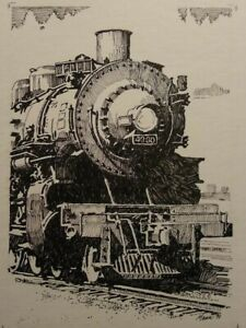 Fine Art Original Pen and Ink Locomotive Drawing Pennsylvania Artist James Mann