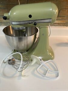 Vintage K-45  KitchenAid 10 Speed Stand Mixer Avocado Green with Attachments