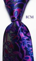 New Classic Paisley Black Blue Rose JACQUARD WOVEN 100% Silk Men's Tie Necktie