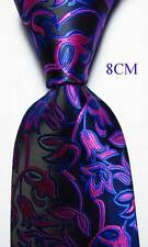 New Classic Paisley Black Blue Rose JACQUARD WOVEN 100% Silk Men's Tie Necktie