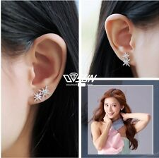 White Gold Sterling Silver Frozen Star Cluster Crystal Stud Earrings Gift Box AJ