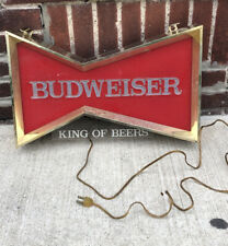 "Vintage Budweiser ""King Of Beers"" Light Up Hanging Wall Sign Working"