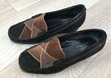 WIDE FIT SHOES Size 5 COMFITTS Brown Suede Loafer Low Wedge Comfort Walking
