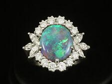 Wertvoller Semi Black Opal Ring mit Brillanten ca. 6,20ct große Ringweite 60