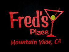 FRED'S PLACE T SHIRT Mountain View California Bar Lounge Martini Olive Drinking