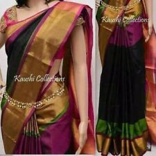 Party Wear South Indian Pure Silk Saree With Blouse. Piece, Ship From USA