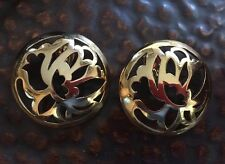 VINTAGE 80'S ESCADA COUTURE RUNWAY GOLD FLORAL CUTOUT EARRINGS NWOT