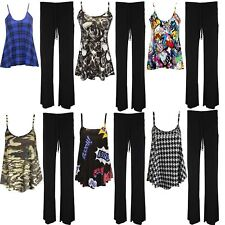 Womens Ladies Plus Size Printed Cami Sleeveless Swing Vest Top and Trouser 8-26