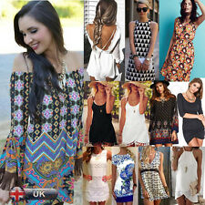 High Quality Women Party Dress Lady Bohemian Summer Short Sleeve Beach Dress Lot