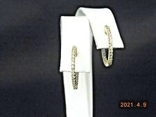 18K YELLOW GOLD ROUND HOOP EARRINGS WITH DIAMONDS        NR
