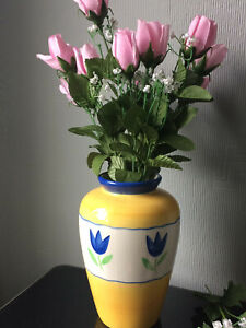 ASDA Pottery Large Flowers VASE Hand Painted Yellow Blue Floral Ceramic Deco Pot