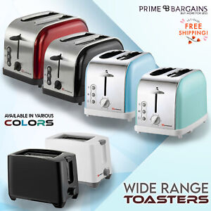 New 2 Slice Wide Toaster Bagel Toast Reheat Cancel Browning Control Function UK