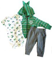 Carter's Baby Boys 3 Piece Dinosaur Set Newborn Green Gray Bodysuit Pants Jacket