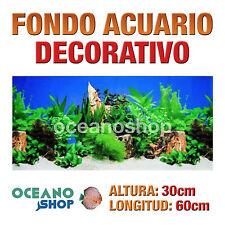 FONDO 60x30cm ACUARIO DECORATIVO VINILO ROCAS Y PLANTAS CALIDAD D435