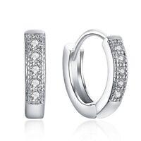 Sterling Silver Hoop Earrings Huggie 925 Women Jewelry Crystal Dangle S Wedding