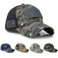 Mens Cotton Baseball Cap USA Army American Flag Tactical Trucker Hats Mesh Hat