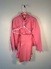 Newport News NWT Pink Jacket Pants Suit Biker Fringe Fashion Combo Wmn Sz 14/12