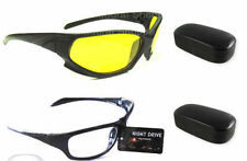 White + Yellow Lens Goggles Night Driving Vision Sunglasses Sun Glasses