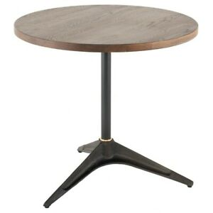 "31.5"" Bar Accent Table Smoked Solid Oak Top Black Cast Iron V Shaped Base"
