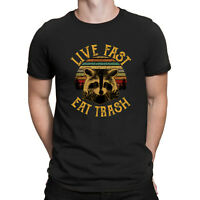 Live Fast Eat Trash Raccoons Vintage T Shirt Retro Black Cotton Men's Shirts Tee