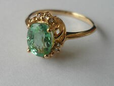 BEAUTIFUL 18K PARAIBA TOURMALINE DIAMOND YELLOW GOLD RING 1.22CT COPPER BEARING*