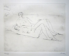 "HENRY MOORE Signed 1975 Original Etching ""Reclining Figures on Beach"""