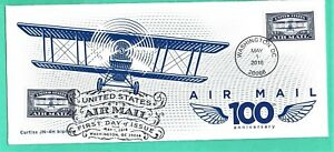 #5281 Centennial Air Mail Blue FDC, May 1, 2018, #10 cover, 2 Hand Cancellations