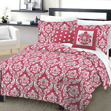 NEW Marcheline Damask Comforter Sham & 2 Pillows 4 Piece Set Coral Pink Twin