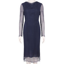Adam Lippes Midnight Navy Blue Slim-Fitting Mesh Lace Dress US4 UK8 IT40
