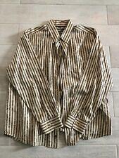 Tommy Bahama Shirt Cotton Silk Mens XL Tan Brown Stripe Palm Trees
