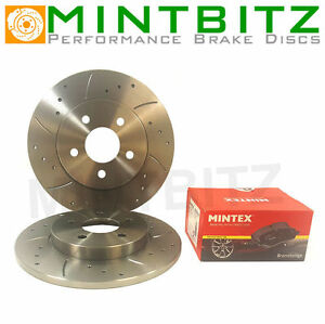 BMW Mini Mk1 ALL Rear Drilled & Grooved Brake Discs & Mintex Pads