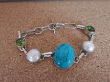 Sterling Silver & Multi Colour Stone Bracelet 7.5 Inches