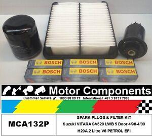 SPARK PLUG & FILTER KIT for Suzuki VITARA SV620 SWB H20A 2 Litre V6 95-99