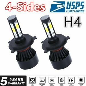 pair 4-sides H4 HB2 9003 LED Headlight Kit 2400W 6000K 360000LM Hi/lo Beam Bulbs