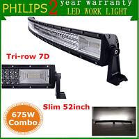 CURVED Tri Row 52inch 675W Led Light Bar Combo Driving Lamp ATV Fog Slim 7D Lens