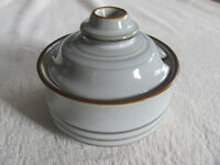 Denby-Langley Fjord -Gray with Green Bands - Sugar Bowl with Lid