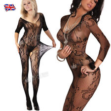 Plus + Size Fishnet Sleeved Bodystocking Sexy Lingerie Nighties Catsuit FH2