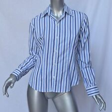 RALPH LAUREN Black Label Casual/Work Multi-Blue Stripe Dress-Shirt Top Blouse 4